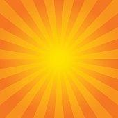 Bright orange rays background. Comics, pop art style. Vector eps 10
