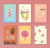 A set of cards with ice cream. Bright illustrations for covers, posters, notepads, flyers. Summer sweets for joy.