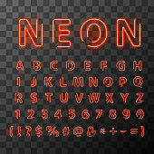Bright red neon letters. Neon letters font on transparent background. Letters compiled from neon tubes.