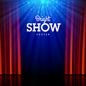 Bright show poster design template. Stage, spotlights and open curtains. Vector illustration with transparent effect, eps10.