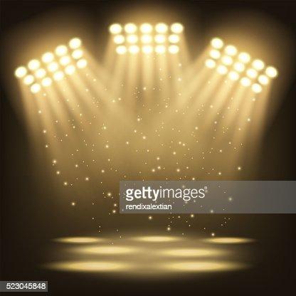 Bright stadium spotlights background : stock vector