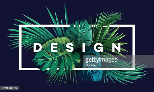 Bright tropical background with jungle plants. Exotic pattern with palm leaves. : stock vector