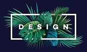 Bright tropical background with jungle plants. Vector exotic pattern with palm leaves.
