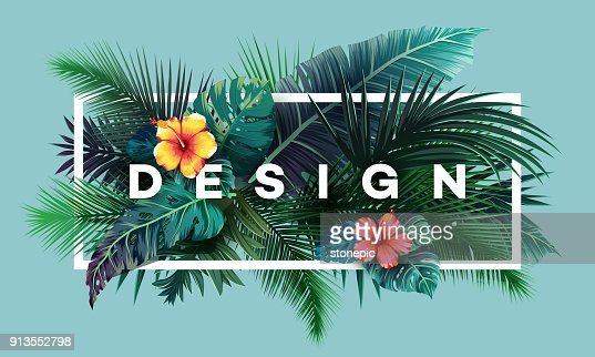 Bright tropical background with jungle plants. Exotic pattern with palm leaves : stock vector