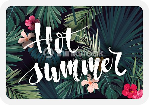 Bright tropical vector postcard design with hibiscus flowers, exotic palm leaves and lettering