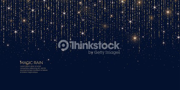 Bright vector illustration Magic rain of sparkling glittery particles lines. : arte vetorial