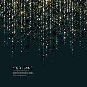 Bright vector illustration Magic rain of sparkling glittery particles lines on a dark background.