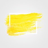 Bright yellow vector paint brush stroke .Art background. Frame for text. Design for banner, poster, invitation, brochure, cover, flyer Isolated