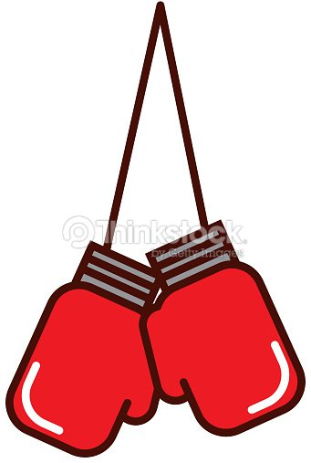 Brightly hanging boxing gloves