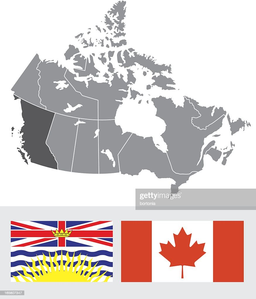 Newfoundland Canada Map And Flag Vector Art Getty Images - Canada map with flag
