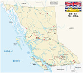 british columbia road map with flag.