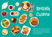 Full english breakfast icon served with mashed potatoes topped with sausages and onion gravy, beef in a pastry crust and sausages in a yorkshire pudding, lamb stew and meat pies, black tea with gypsy