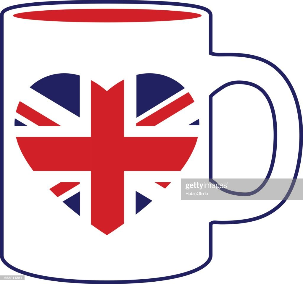 British Heart Flag Coffee Mug : Vector Art