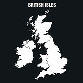 Vector Illustration of the Map of British Isles in Black and White