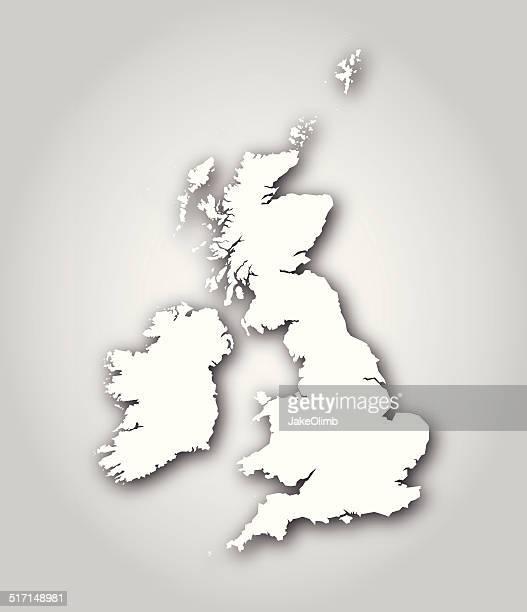 British Isles Map Silhouette White