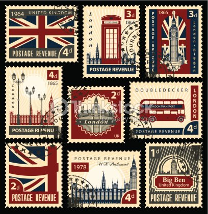British postage stamps : stock vector