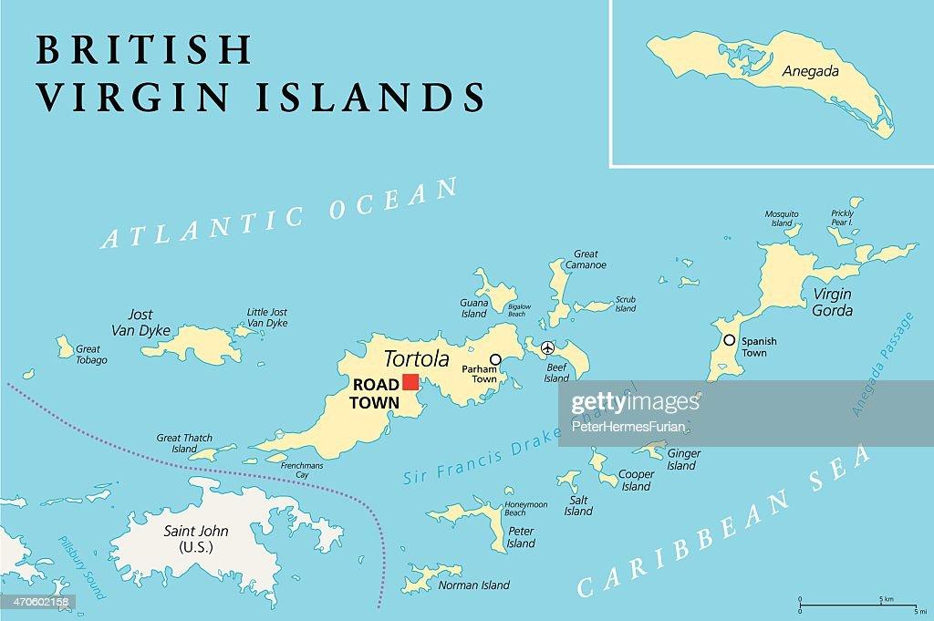 British Virgin Islands Political Map Vector Art Thinkstock