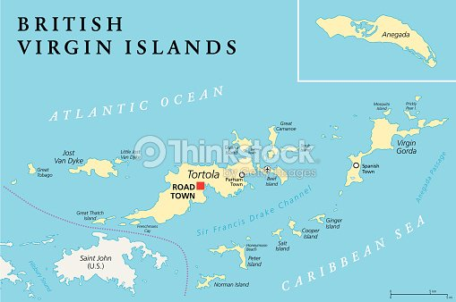 british virgin islands political map vector art