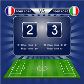 Broadcast graphic for football final score. Football Soccer Match Statistics. Scoreboard and football playfield. France versus Italy Team. Digital background vector illustration. Infographic