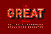 Broadway style retro light bulb font, vintage alphabet letters and numbers vector illustration