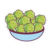 Broccoli in bowl cartoon vector illustration graphic design