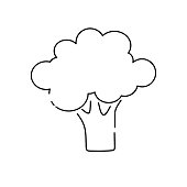 Broccoli line icon, outline vector sign. Vector illustration on white background