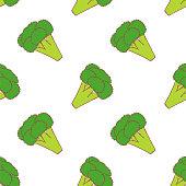 Broccoli seamless pattern for wallpaper design. Fresh ripe color food. Organic healthy vegetable.  Raw, vegan, vegetarian food. Cartoon pattern on white backdrop. Vector doodle design.