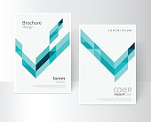Vector set brochure cover template. Blue and green diagonal lines and triangles. EPS 10