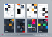 Brochure design square rectangular template. Creative abstract set, annual report, horizontal cover, flyer in A4 with colourful shapes for branding, exhibition. Business vector presentation.