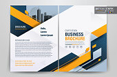 Brochure Flyer Template Layout Background Design. booklet, leaflet, corporate business annual report layout with white, orange and blue geometric background template a4 size - Vector illustration.