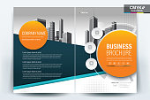Brochure Flyer Template Layout Background Design. booklet, leaflet, corporate business annual report layout with teal, turquoise blue and orange geometric on a white background template a4 size - Vect