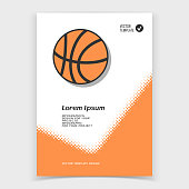 Brochure or web banner design with basketball icon. Vector illustration
