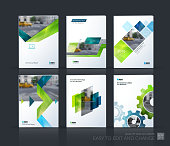 Brochure template layout, cover design annual report, magazine, flyer, leaflet in A4 with blue gear, green triangles, arrow, ribbon with overlap effect for business and technology. Vector mega set.