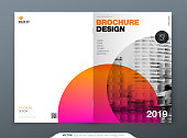 Brochure template layout design. Corporate business annual report, catalog, magazine, flyer mockup. Creative modern bright concept circle round shape.