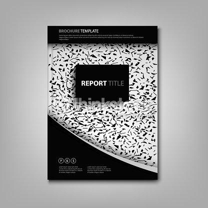 パンフレット本や抽象的な黒と白のデザインのチラシ ベクトルアート