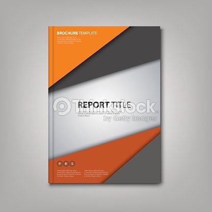 brochures book or flyer with orange grey triangles template ベクトル