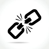 Illustration of broken chain icon on white background