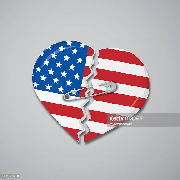 Broken heart as USA flag with safety pin