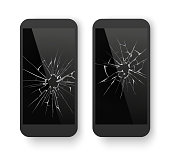 Broken mobile phone. Cracked smartphone screen. Smashed damaged display glass cell phone, telephone crack equipment. Repair black cellphone 3D realistic isolated vector concept