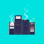 Broken server. Flat design vector illustration.