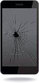 Vector illustration of broken smart phone.