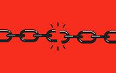 Broken, torn chain. Concept of failure. Vector illustration