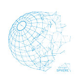 Broken Wireframe Sphere. Fractured Geometric Form. Lines Network Polygons of Circle - Illustration Vector