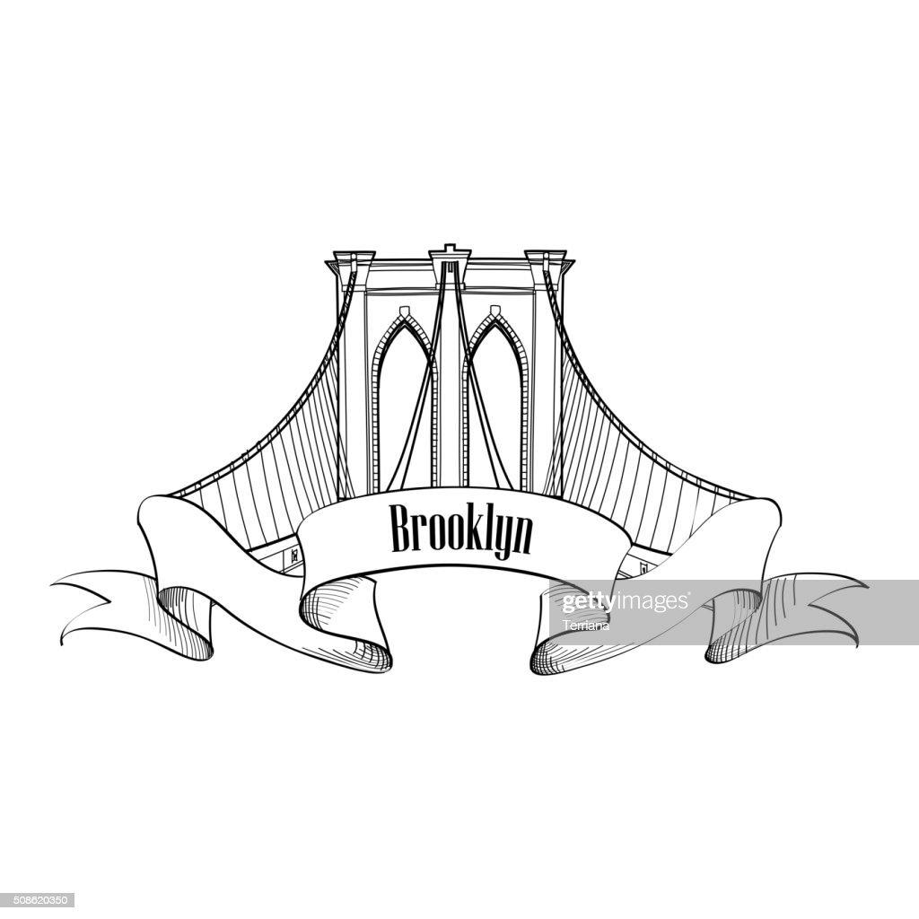 Brooklyn Bridge arch label. Architectural symbol of New York district : Vector Art