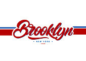Brooklyn, New York typography in college style. Vector illustration varsity, graphic for t-shirt. Slogan.Vector illustration design.