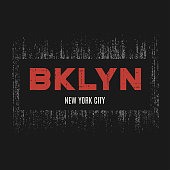 Brooklyn t-shirt and apparel design with grunge effect and textured lettering. Vector print, typography, poster, emblem.