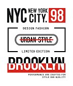 NYC Brooklyn design vector typography varsity for print t shirt - Vector