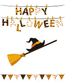 Broom with hat of a witch with flags and Letters and an inscription of a happy Halloween hang on clothespins on a rope. Vector. Festive garland. Greeting card or invitation to a party.