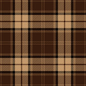 Brown, black and beige seamless traditional tartan plaid pattern design.