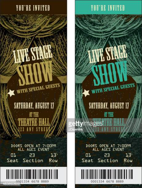 Brown and turqoise Colorful set of theatre show ticket templates
